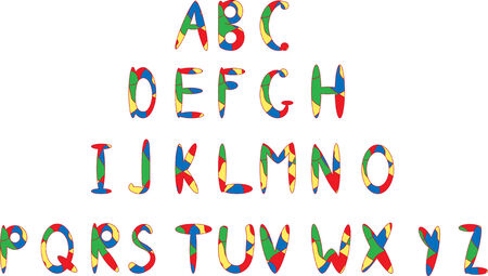 The English alphabet. Cheerful multi-coloured letters.