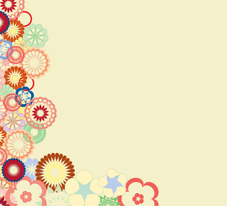 motley: Abstract background with bright motley flowers  Illustration