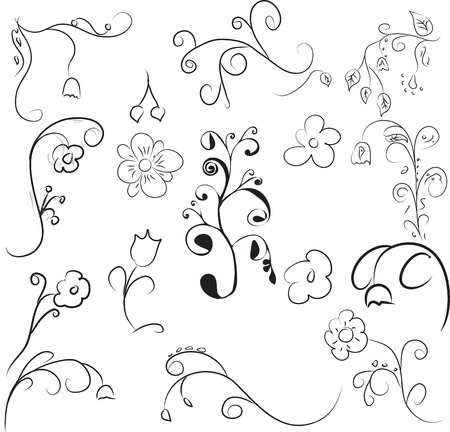 Elements of flower ornament Illustration