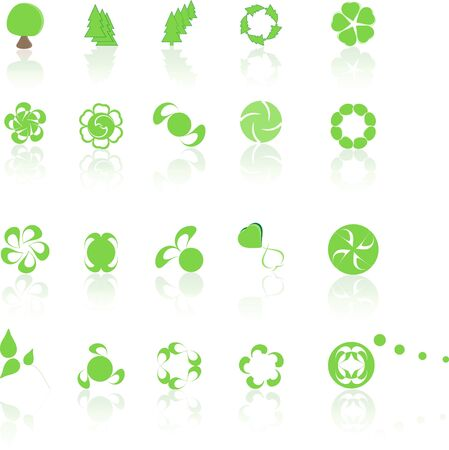 Collection of green icons with reflexion Stock Photo