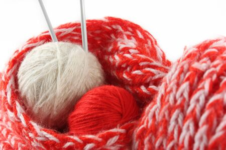 Two balls of a wool yarn in a scarf Stock Photo