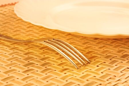 Plate with a fork on a bamboo placemat