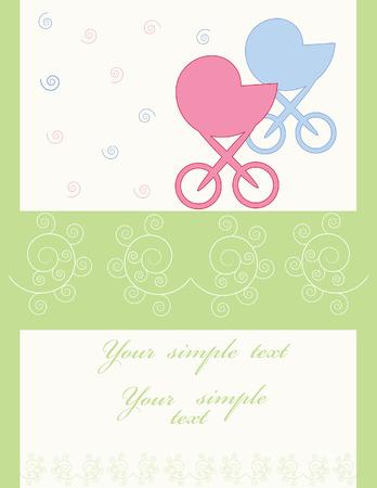 perambulator: Celebratory card. With the newborn Illustration