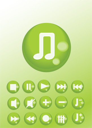 set of buttons with audio symbols Vector