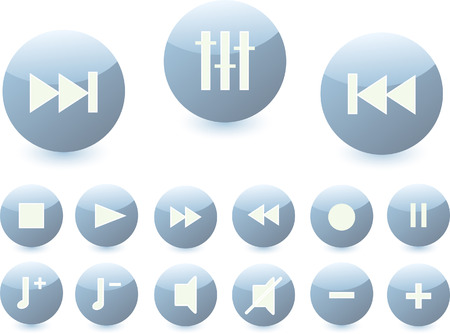 set of buttons with audio symbols