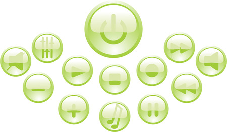 set of green buttons Vector