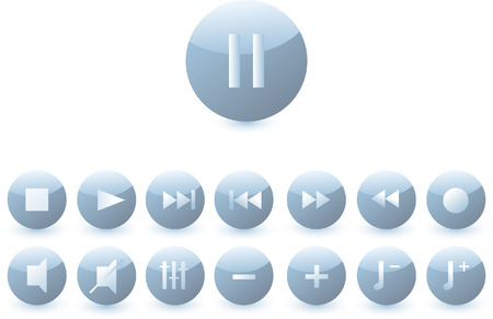set of buttons with a audio symbols