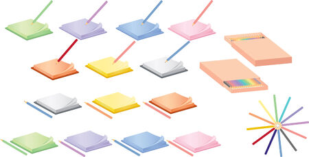 set of notepads and pencils Vector