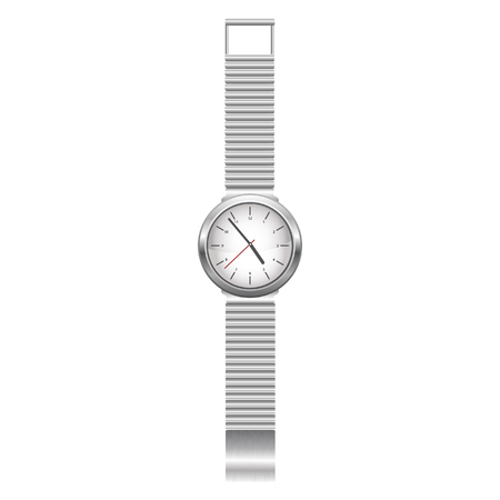 silver watch isolated over a white backgtound Vector