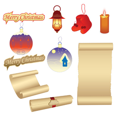 set of vector christmas decorations Vector
