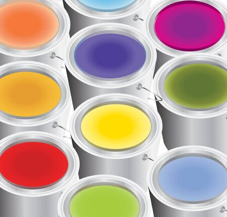 multicoloured paints in the silver buckets