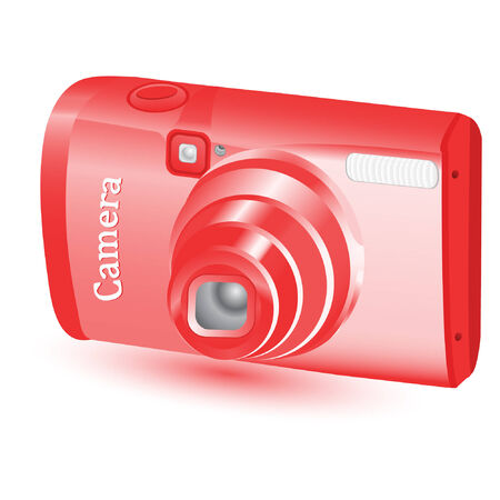 compact red digital camera isolated on a white background