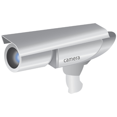 video surveillance: silver camera  Illustration