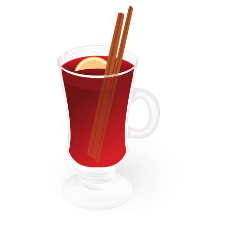 mulled wine isolated on an white background Vector