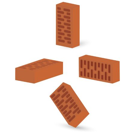 bricks isolated on an white background Illustration