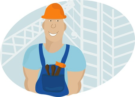 builder in a building helmet  Illustration