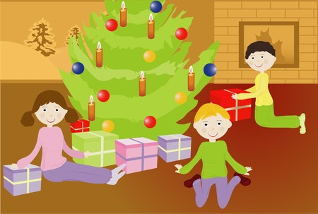 kids in a christmas room Vector