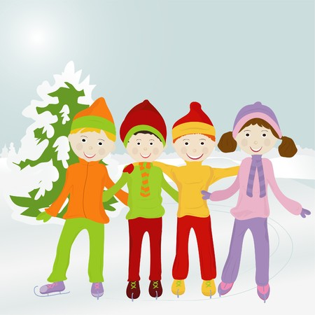 cheerful company of kids standing on a skating rink