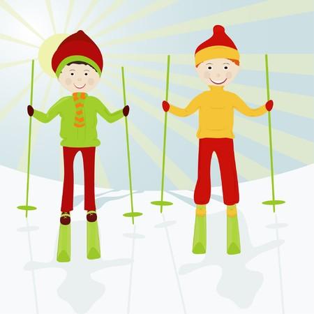 Two boys on skis on a snow mountain