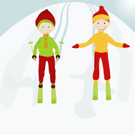 Two boys on skis on a snow mountain Vector
