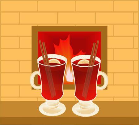 Glühwein gegen Feuer im Kamin