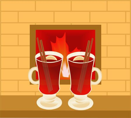 Mulled wine against fire in a fireplace Illustration
