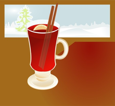 Mulled wine against winter window Illustration