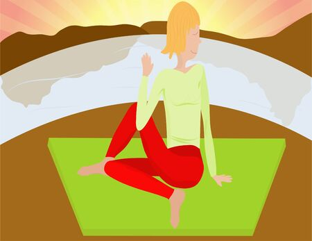 woman practises yoga on the river bank on sunrise Stock Vector - 7948425
