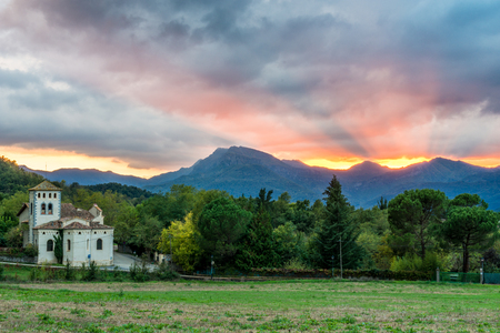Dramatic sunset in Olot, the Province of Garrotxa (Catalonia, Spain