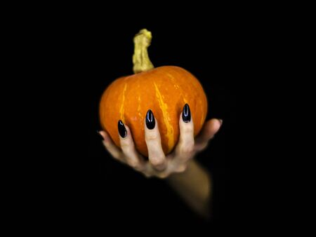 Witches knotty fingers with black sharp glossy nails hold a small pumpkin, low key, selected focus.