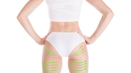 Female attractive buttocks in base underwear. Lifting marking with green arrows in womans hips and legs, isolated on white. Standard-Bild