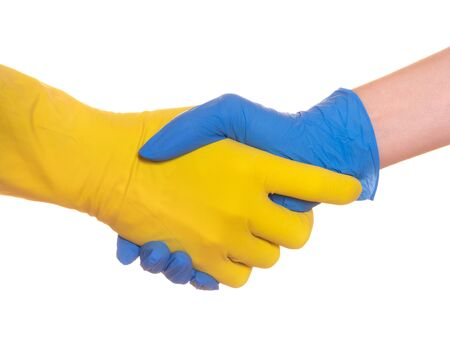 Two human palms in rubber protective gloves isolated on white.