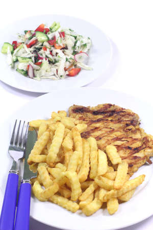 Grilled chicken steak with potatoes fried photo