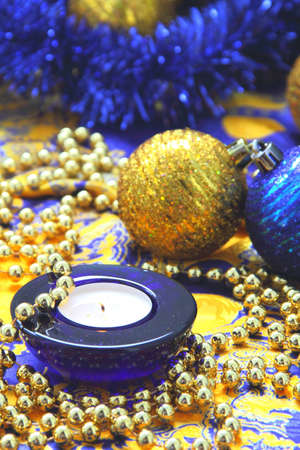 Christmas composition of candle  and balls photo