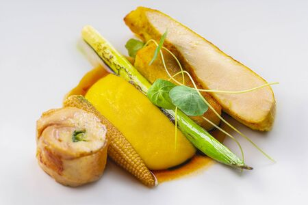 Chicken fillet cooked and served on a white plate Stock Photo
