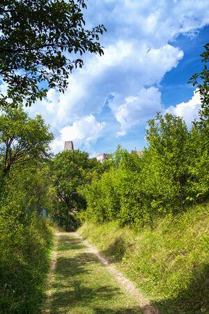 Backov Castle, village Beckov near Nove Mesto nad Vahom, Slovakia,View of the castle from the green trail 写真素材