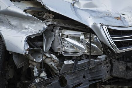 Accident, broken car. Broken headlight on a car.Car crash background. Imagens