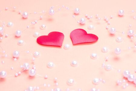 Pink hearts on a pink background.Valentine's Day . Blank for the designer. Valentines day concept. Greeting card. Copy spice. 免版税图像 - 139602121