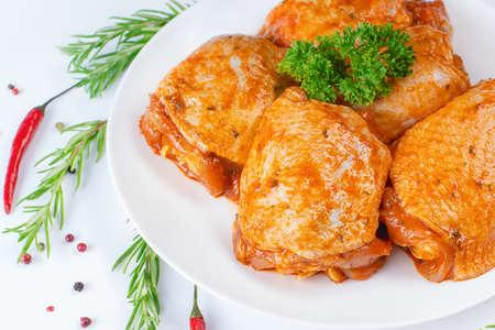 Fresh chicken meat.Raw marinated chicken thighs for grill and bbq.Marinated raw chicken thigh. ...