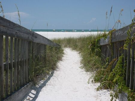 sandy beach entrance Stock Photo