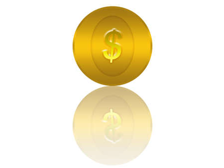 golden coin with dollar sign as illustration with white background illustration