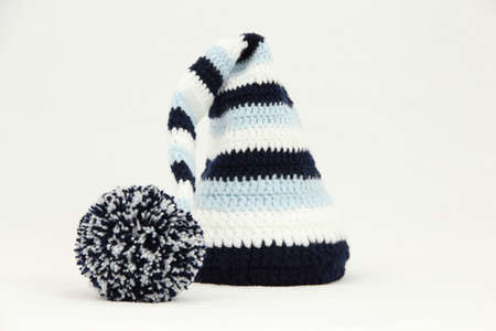 knitten: Knitted blue cap handwork
