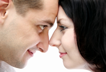 man and woman look at each other