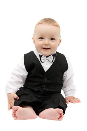 joven fumando: pequeño bebé en traje