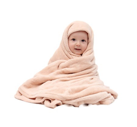 nude baby: baby after bath sitting on bed