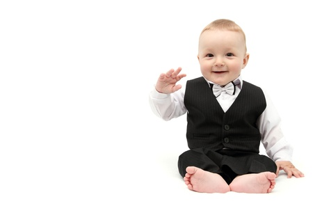 Happy baby boy in suit