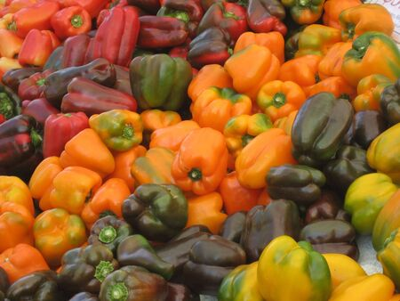 Rainbow assortment of brightly colored bell peppers