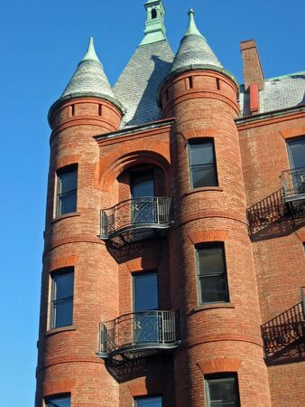turrets: Turrets on a brick building in Burlington, Vermont