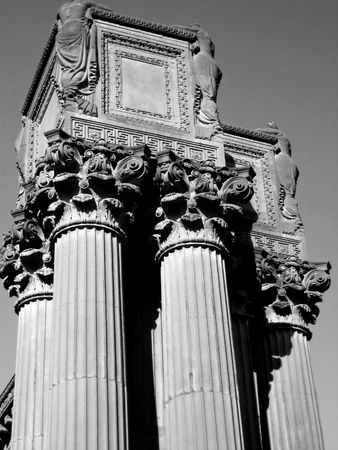 Columns and portico at the Palace of Fine Arts in San Francisco, CA.  Image is in black and white. photo