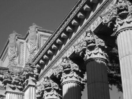 Architectural detail in black and white from the Palace of Fine Arts in San Francisco, California